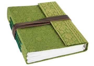 Picture of Sari Handmade A5 Refillable Journal Olive Plain