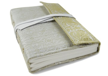 Picture of Sari Handmade A5 Refillable Journal White Plain