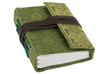Picture of Sari Handmade Handbound Mini Journal Olive Plain