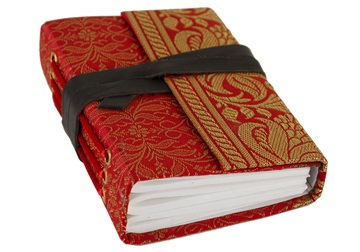 Picture of Sari Handmade Handbound Mini Journal Ruby Plain
