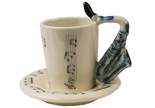 Picture of Saxophone Handmade Ceramic 2oz Espresso Cup Blue