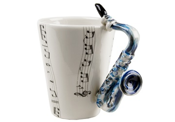 Picture of Saxophone Handmade 8oz Coffee Mug Blue
