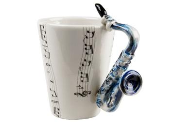 Picture of Saxophone Handmade 8oz Coffee Mug Blue