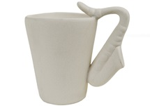 Picture of Saxophone Handmade Ceramic 8oz Coffee Mug Unpainted