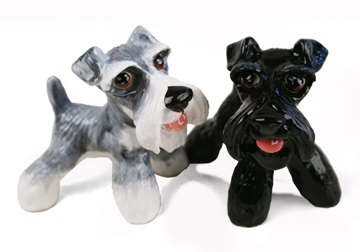 Picture of Schnauzer Handmade Mini Cruet Set Silver And Black