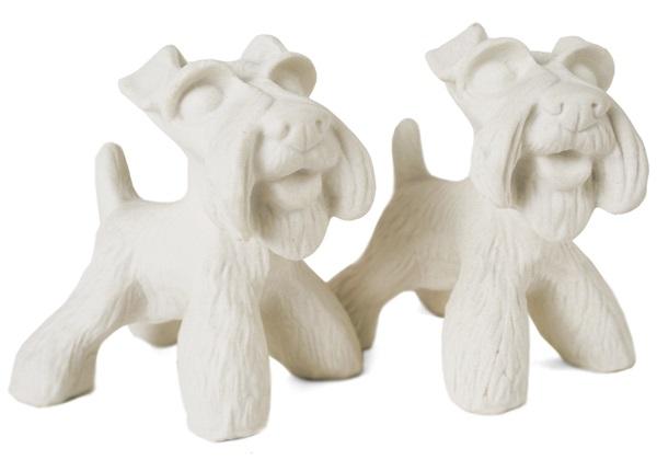 Picture of Schnauzer Handmade Unpainted Ceramics Mini Unpainted Cruet Set Unglazed