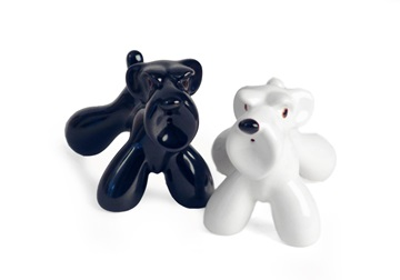 Picture of Schnauzer Handmade Ceramic Small Cruet Set Black And White
