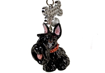Picture of Scottish Terrier Handmade Mini Key Ring Black