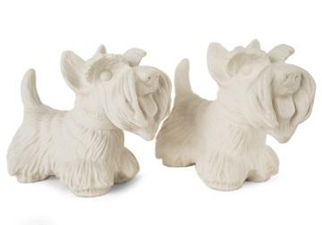 Picture of Scottish Terrier Handmade Unpainted Ceramics Mini Unpainted Cruet Set Unglazed