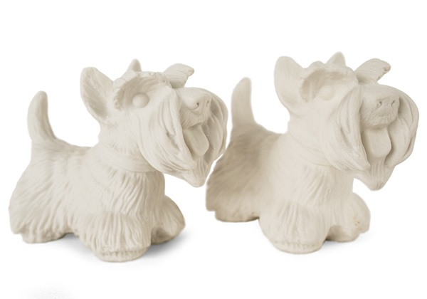 Picture of Scottish Terrier Handmade Unpainted Ceramics Mini Unpainted Cruet Set Unglazed