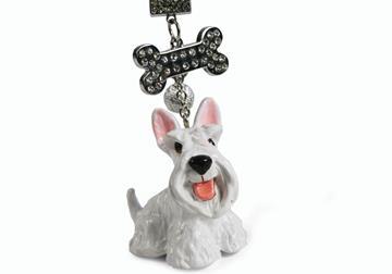 Picture of Scottish Terrier Handmade Mini Key Ring White