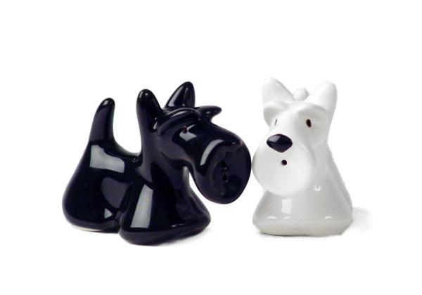 Picture of Scottish Terrier Handmade Ceramic Small Cruet Set Black and White