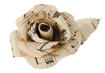 Picture of Scrappy Do Handmade Extra Large Embellishment Rose Recycled Musical Paper