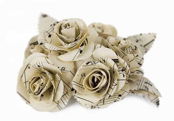 Picture of Scrappy Do Rose Musical Paper Large Embellishment Floral White