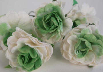 Picture of Scrappy Do Rose Blossom Large Embellishment Green And White