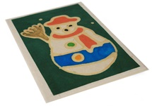 Picture of Scrappy Do Handmade Christmas Snowman Large Card Green Batik