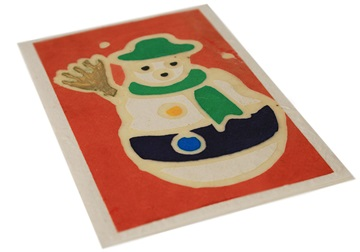 Picture of Scrappy Do Large Red Batik Handmade Christmas Snowman Card