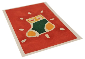 Picture of Scrappy Do Handmade Christmas Stocking Large Card Red Batik