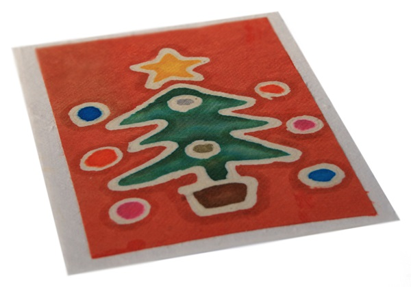 Picture of Scrappy Do Handmade Christmas Tree Large Card Red Batik