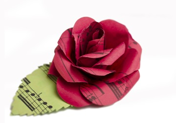 Picture of Scrappy Do Handmade Large Embellishment Red Rose Musical Paper