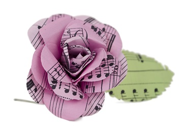Picture of Scrappy Do Handmade Large Embellishment Pink Rose Musical Paper