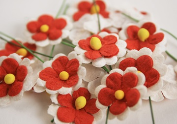Picture of Scrappy Do Daisy Mini Embellishment White And Red