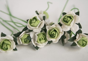 Picture of Scrappy Do Rose Blossom Small Embellishment Green And White