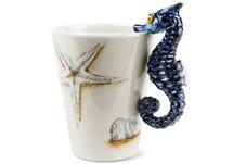 Picture of Sea Horse Handmade 8oz Coffee Mug Blue