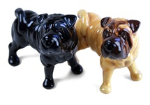 Picture of Shar Pei Handmade Mini Cruet Set Fawn and Black