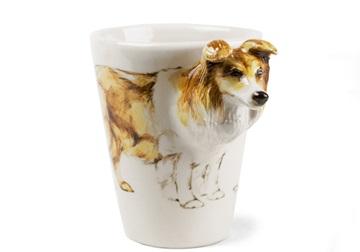 Picture of Shetland Sheepdog Handmade 8oz Coffee Mug Tan and Black