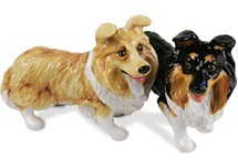 Picture of Shetland Sheepdog Handmade Mini Cruet Set Tan and Black