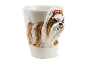 Picture of Shih Tzu Handmade 8oz Coffee Mug Light Brown and Grey