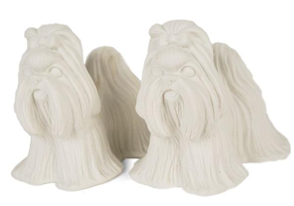 Picture of Shih Tzu Handmade Unpainted Ceramics Mini Unpainted Cruet Set Unglazed