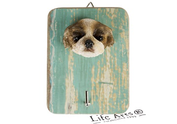 Picture of Shih Tzu Handmade Rustic Single Wall Hook Brown