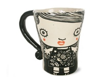 Picture of Shojo Ceramic Bell 12oz Coffee Mug Monochrome