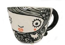 Picture of Shojo Handmade Ceramic 8oz Coffee Mug Monochrome