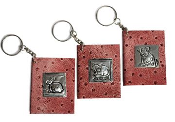 Picture of Siam Pico Tiny Pink Leather Handmade Keyring Journal