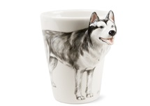 Picture of Siberian Husky 8oz White And Silver Handmade Coffee Mug