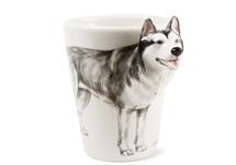 Picture of Siberian Husky Handmade 8oz Coffee Mug White and Silver