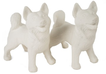 Picture of Siberian Husky Handmade Unpainted Ceramics Mini Unpainted Cruet Set Unglazed