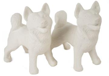 Picture of Siberian Husky Handmade Unpainted Ceramics Mini Unpainted Cruet Set Unglazed