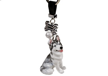 Picture of Siberian Husky Handmade Mini Key Ring White And Silver