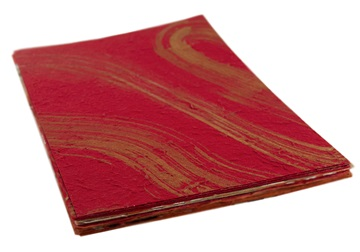 Picture of Silk Screen Golden Swirl A4 Handmade Paper Red and Gold
