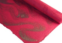 Picture of Silk Screen Golden Swirl Poster Paper Red
