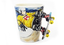 Picture of Skateboard Handmade 8oz Coffee Mug Blue