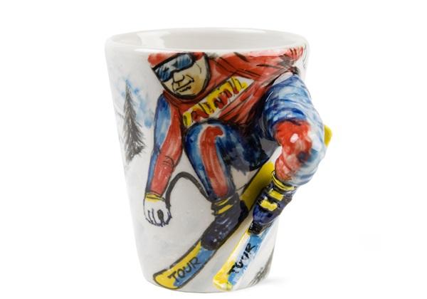 Picture of Ski Handmade 8oz Coffee Mug Blue