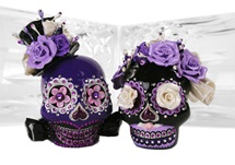 Picture of Skull Handmade Mini Cake Topper Black Velvet