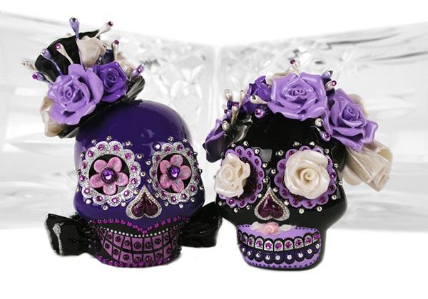 Picture of Skull Handmade Mini Cake Topper Black Velvet