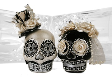 Picture of Skull Handmade Mini Cake Topper Harlequin Diamante