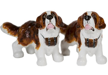 Picture of St Bernard Handmade Mini Cruet Set Brown and White